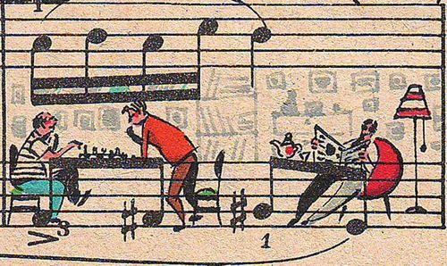 Drawing-art-on-sheet-music-bringing-to-life-by-people-too-8