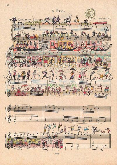 Drawing-art-on-sheet-music-bringing-to-life-by-people-too-5