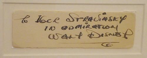 Igor Stravinsky: Dedication from Walt Disney