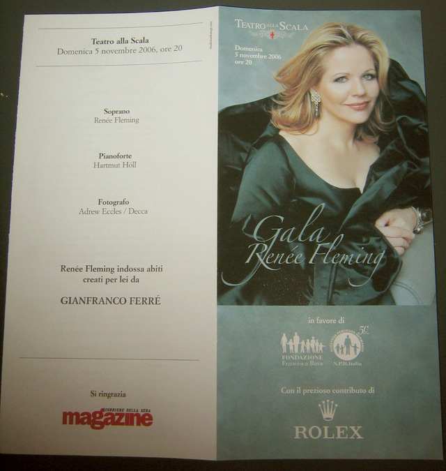 Pamphlet from Fondazione Francesca Rava: For the Renée Fleming recital at Teatro alla Scala